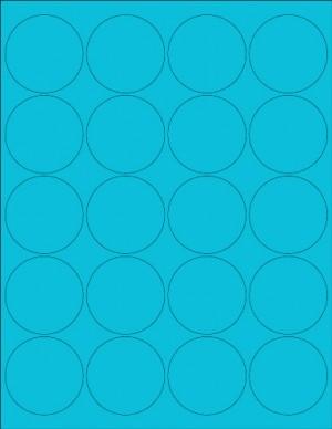 "8-1/2"" x 11"" Blue Fluorescent 20 Labels per Sheet 2"" Round"