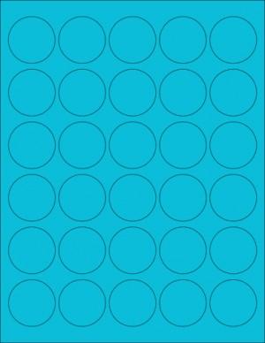 "8-1/2"" x 11"" Blue Fluorescent 30 Labels per Sheet 1.5"" Round"
