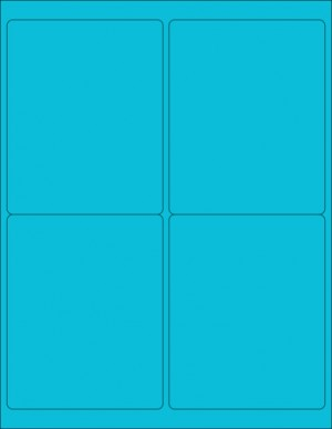 "8-1/2"" x 11"" Blue Fluorescent 4 Labels per Sheet 4 x 5"