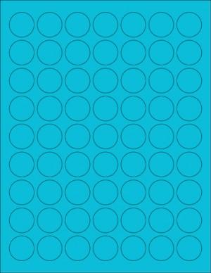 "8-1/2"" x 11"" Blue Fluorescent 63 Labels per Sheet 1"" Round"