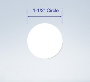 "Wafer Tab Seals, 1.5"" Round, White"