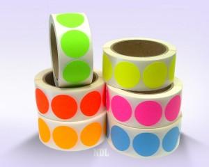 "1.5"" Circle Color Stickers, 500 Permanent Labels, 3"" Core, Assorted Colors"