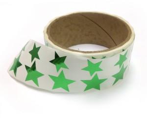 Metallic Foil Star Stickers, Green