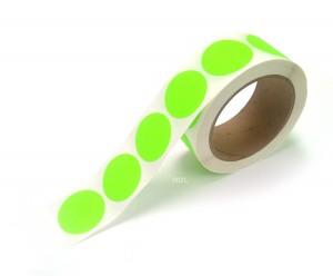 "1.5"" Circle Color Stickers, 500 Permanent Labels, 3"" Core, Green Fluorescent"