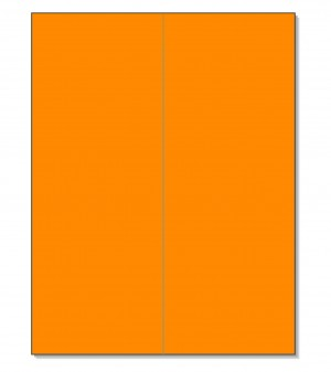 "8-1/2"" x 11"" Fluorescent Orange 2 Labels per Sheet 4-1/4"" x 11"""
