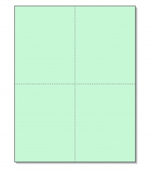 8-1/2 x11  Laser Cards  4 Up - Green