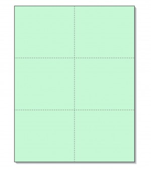 8-1/2 x11 Laser Cards 6 Up - Green