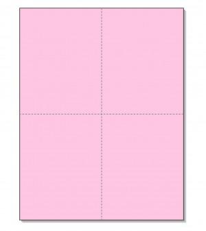 8-1/2 x11  Laser Cards  4 Up - Pink