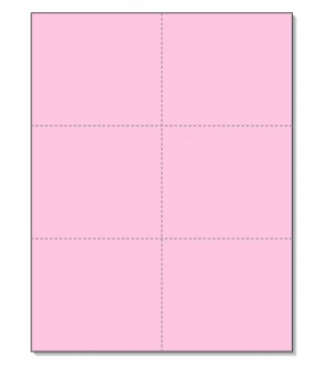 8-1/2 x11 Laser Cards 6 Up - Pink