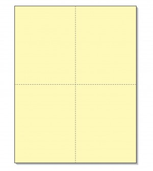 8-1/2 x11  Laser Cards  4 Up - Canary