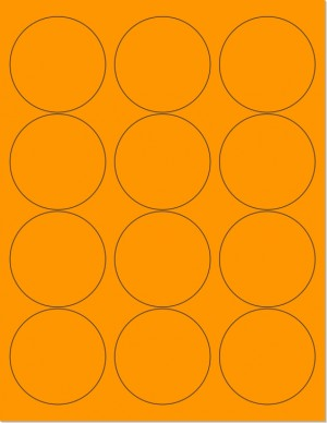 "8-1/2"" x 11"" Orange Fluorescent 12 Labels per Sheet 2.5"" Round"