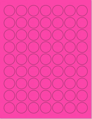 "8-1/2"" x 11"" Pink Fluorescent 63 Labels per Sheet 1"" Round"