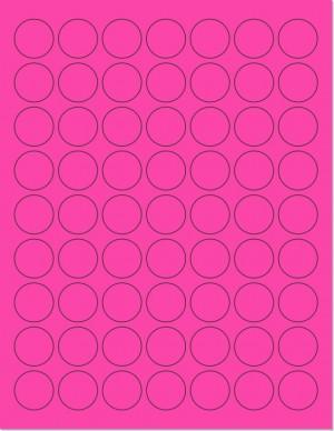"8-1/2"" x 11"" Pink Fluorescent 63 Labels per Sheet 1"" Round"