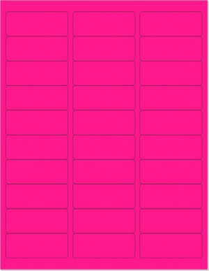 "8-1/2"" x 11"" Pink Fluorescent 30 Labels per Sheet 1"" x 2-5/8"""
