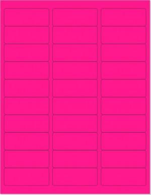 "8-1/2"" x 11"" Pink Fluorescent 30 Labels per Sheet 1"" x 2-5/8"""