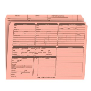 Real Estate Folder Right Panel List Letter Size, Pink