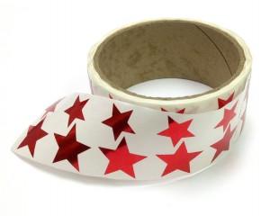 Metallic Foil Star Stickers, Red