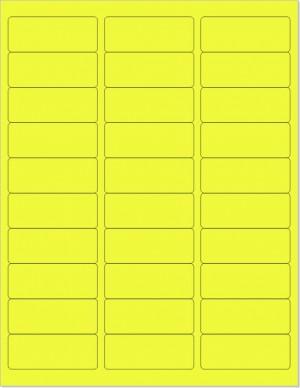 "8-1/2"" x 11"" Yellow Fluorescent 30 Labels per Sheet 1"" x 2-5/8"""