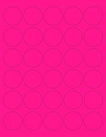 "8-1/2"" x 11"" Pink Fluorescent 30 Labels per Sheet 1.5"" Round"
